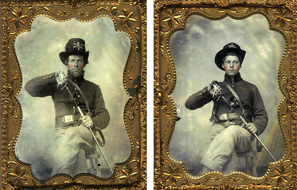 Quarter-plate tintypes by an anonymous photographer. John Robella collection.