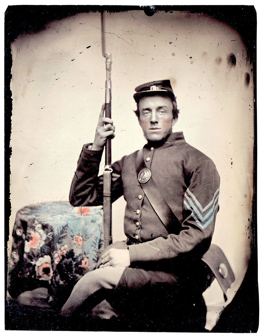 Quarter-plate tintype by an anonymous photographer.New Boston Historical Society collection, New Boston, N.H.