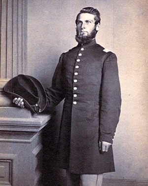 SURVIVED THE JUNE 15 ASSAULT: A sergeant in the 23rd Ohio Infantry prior to accepting a captain's commision in the 6th, Harvey J. Covell (1834-1883) was promoted to major in March 1864, Covell suffered a wound at New Market Heights and was discharged for disability on April 25, 1865. Carte de visite by Heiss's Gallery of Philadelphia.