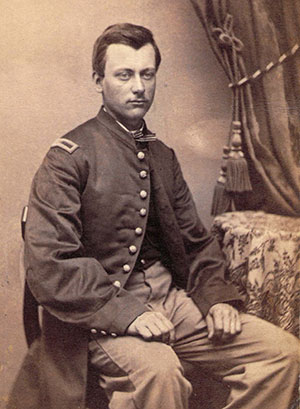 PROUD OF HIS COMPANY: Joseph Hiram Goulding (1842-1916) of Company K was 21 years old when he mustered in as second lieutenant in September 1863.  He accepted an appointment as first lieutenant in May 1865.Carte de visite by an anonymous photographer.