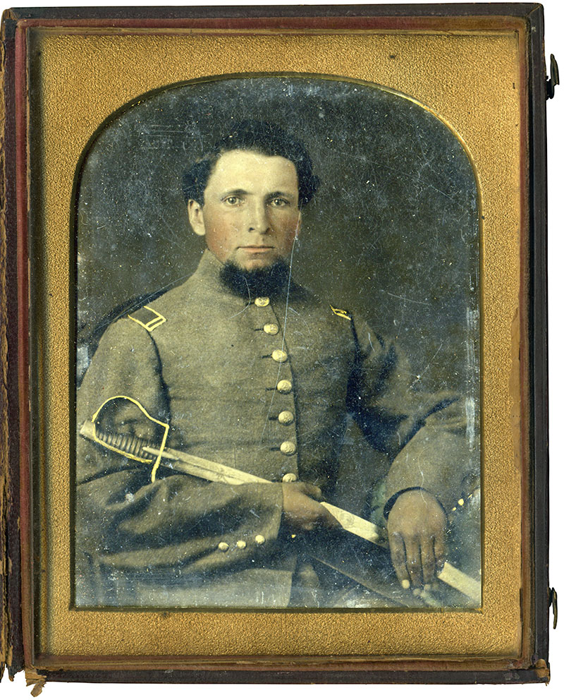 Half-plate tintype attributed to the studio of Esley Hunt of Raleigh, N.C. Les White collection.