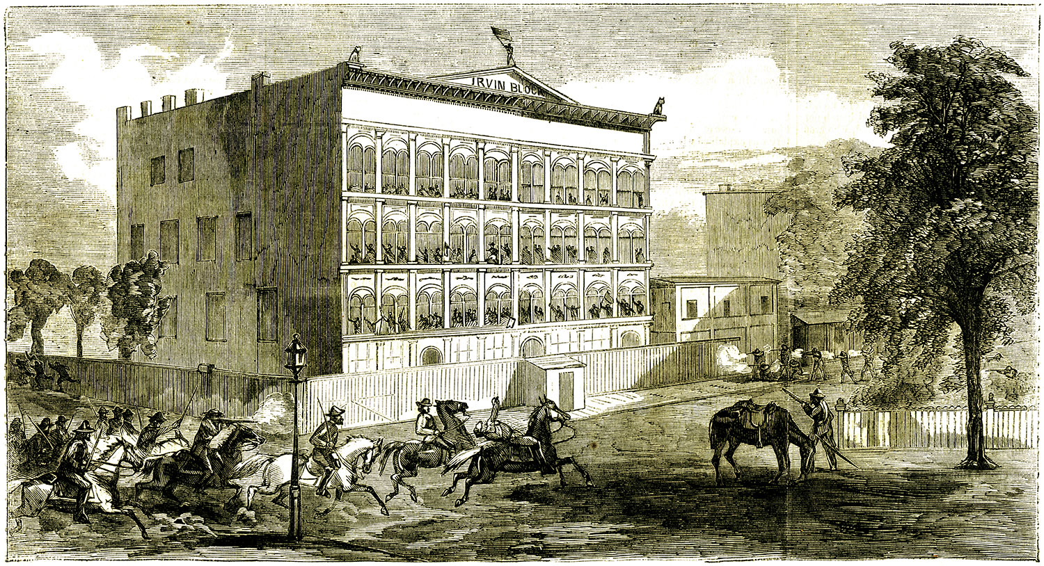 Irving Block Prison as pictured in the September 10, 1864, issue of Harper's Weekly.