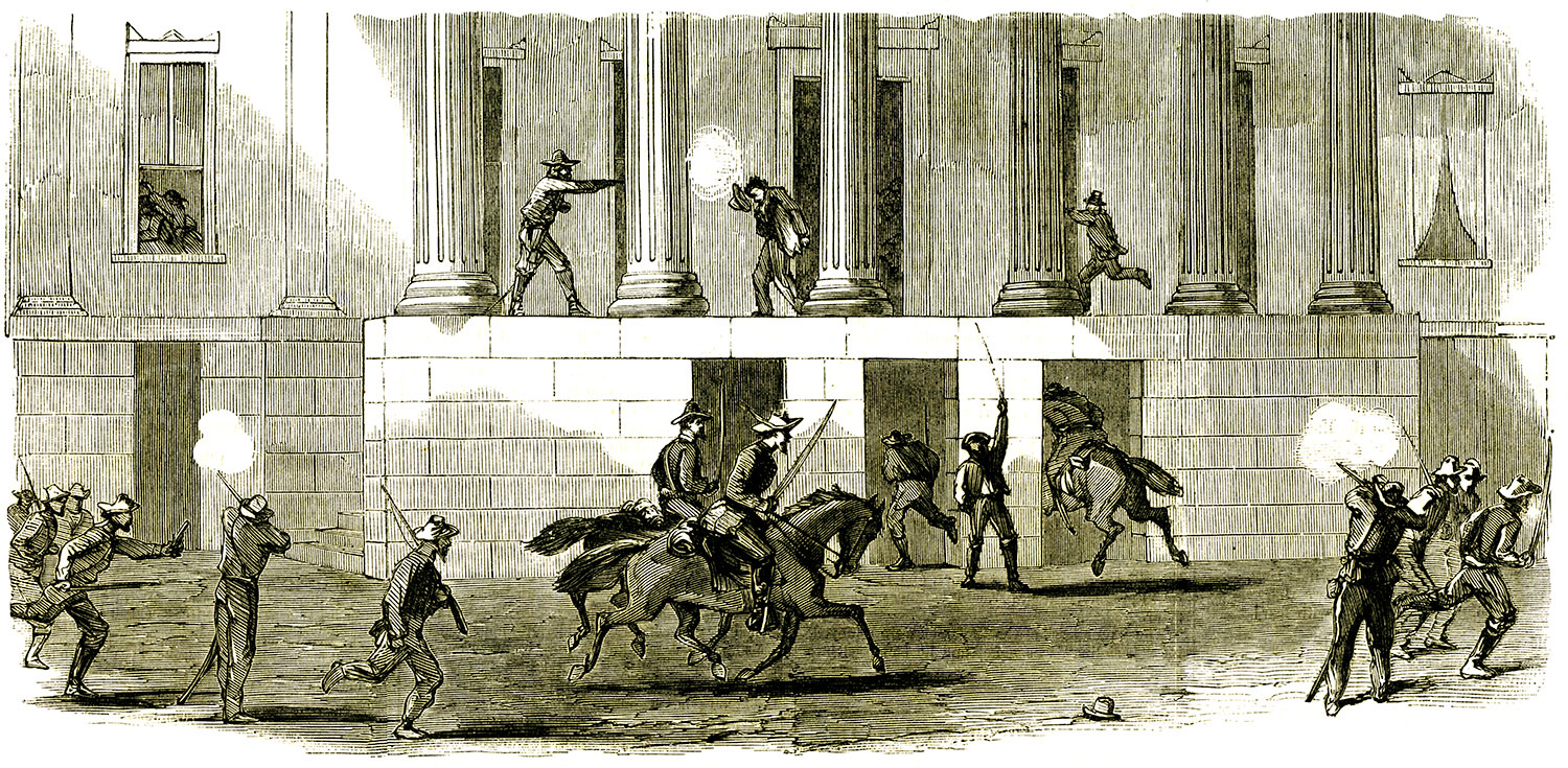 This engraving of the raid on memphis appeared in the September 10, 1864, issue of Harper's Weekly.
