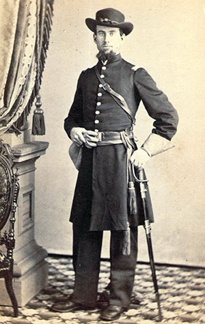 KILLED IN ACTION: Charles V. York (1836-1864) started his service as a first lieutenant in August 1863, and received his captain's bars in March 1864. He death at New Market Heights was mourned by his comrades. Carte de visite by W. L. Germon of Philadelphia.