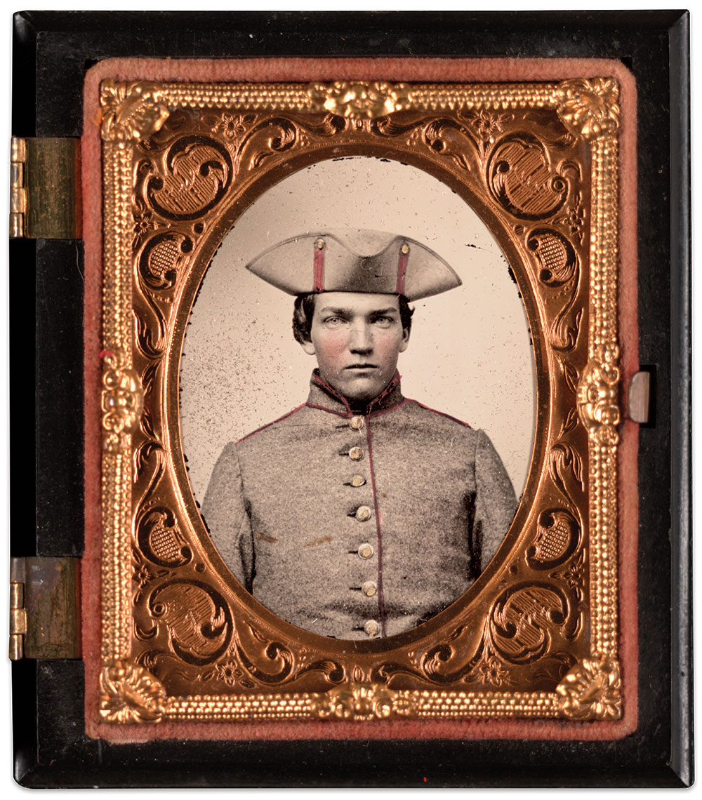 Samuel Cole Wright as a private in the 3rd Massachusetts Infantry, circa 1861. Ninth-plate ambrotype by an anonymous photographer. The Liljenquist Family Collection at the Library of Congress.