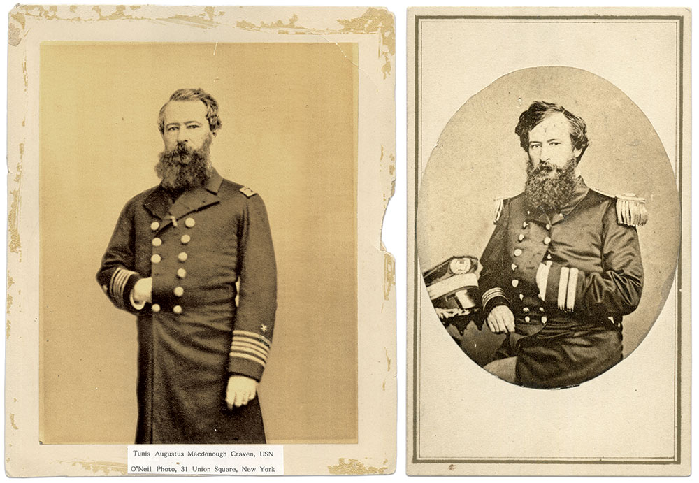 These New York City portraits present Craven as a lieutenant about 1861, left, and as a commander about 1863-1864. Albumen print by O'Neil of New York City, left. Carte de visite by George G. Rockwood of New York City. Courtesy of Paul DeHaan.