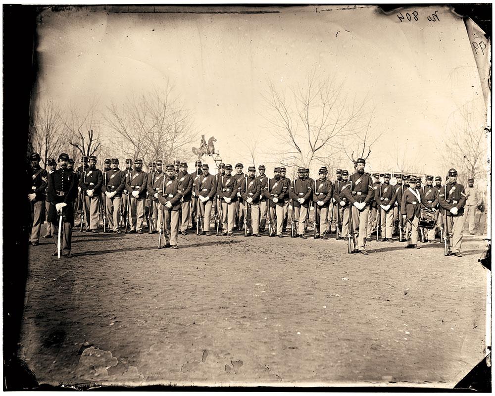 "The glass  negative in question: ""Washington, D.C. Company I, 9th Veteran Reserve Corps, at Washington Circle."""