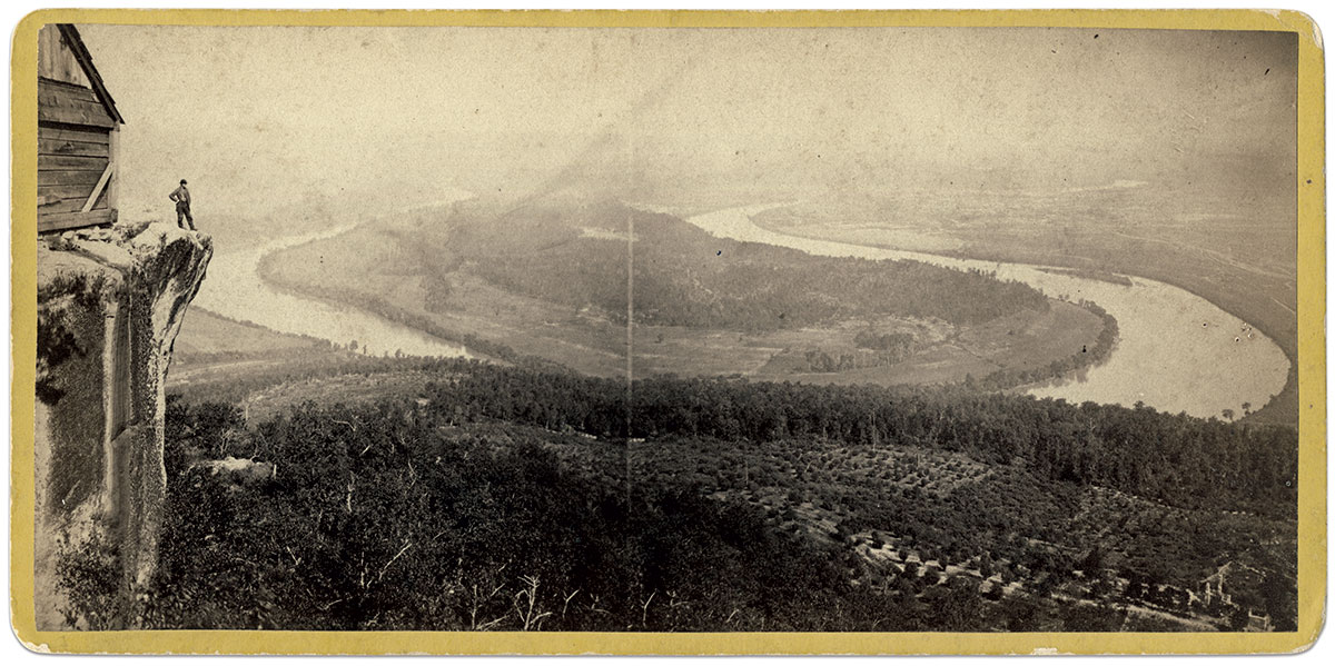 """Grand Panorama: Gallery Point Lookout's """"studio back drop"""" is captured in this image that pictures the Tennessee River flowing around Moccasin Bend along the base of Lookout Mountain."""