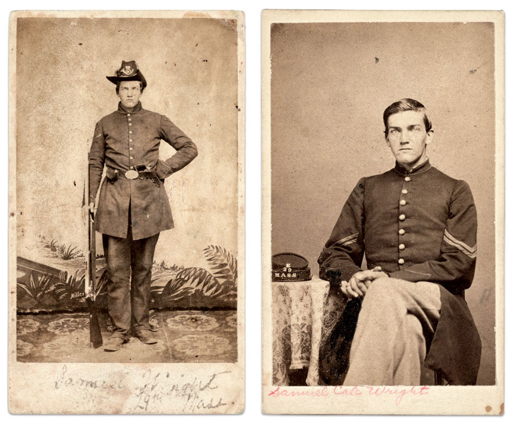 Left: In the 29th Massachusetts Infantry, circa winter 1861. Carte de visite by Hibbard P. Ross and Sidney J. Miller at Camp Butler, Newport News, Va. Right: As a corporal, circa December 1862-July 1864. Carte de visite by an anonymous photographer. The Liljenquist Family Collection at the Library of Congress.