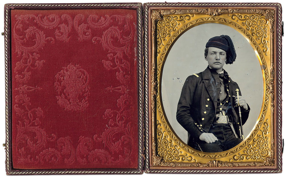 Half-plate ruby ambrotype by an anonymous photographer.
