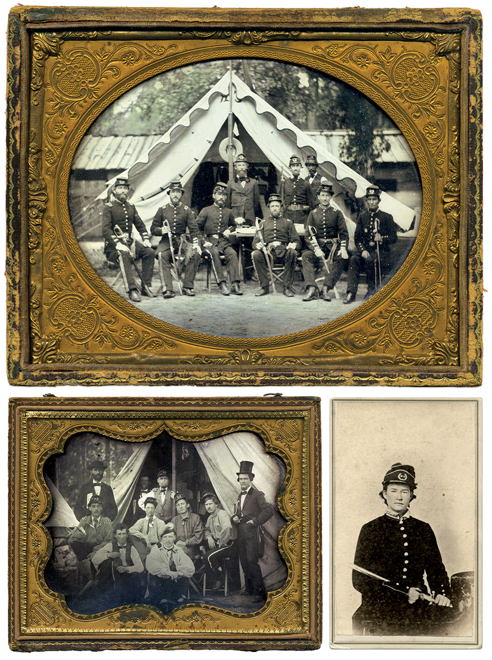 Top: Officers of the Clinch Rifles pose before a spacious tent with fancy edging. Note the hat and small flag attached to the tent pole and, hanging from an interior tent wall, a large eagle and coat. Half-plate ambrotype by an anonymous photographer. Above, left: Enlisted men of the company pose with three civilians, two of whom wear large ribbons. Half-plate ambrotype by an anonymous photographer. Above, right: Unidentified private of the company. Carte de visite by Perkins & Co. of Augusta, Ga.