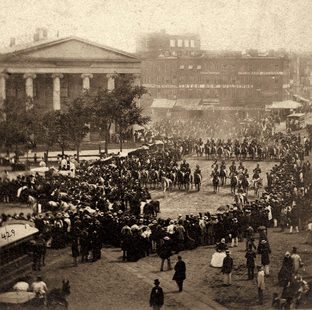 Anthony's Instantaneous Views, No. 429 Fourth of July In and About New York. Troops entering the Park from Tryon Row, July 4th, 1860. Author's collection.