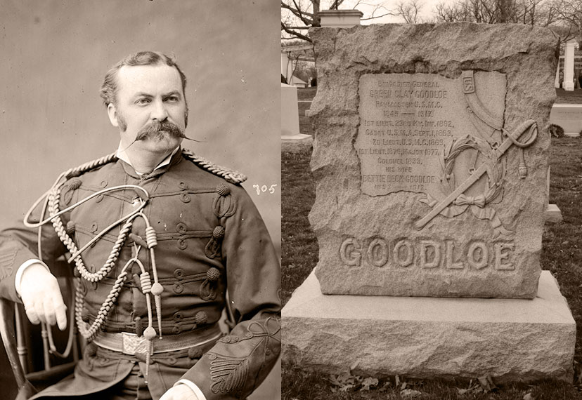 Goodloe, left, pictured as a major in the Marine Corps, circa 1877, from the Library of Congress, and the gravesite of Green Clay Goodloe Sr. (Section 2, Grave 855).