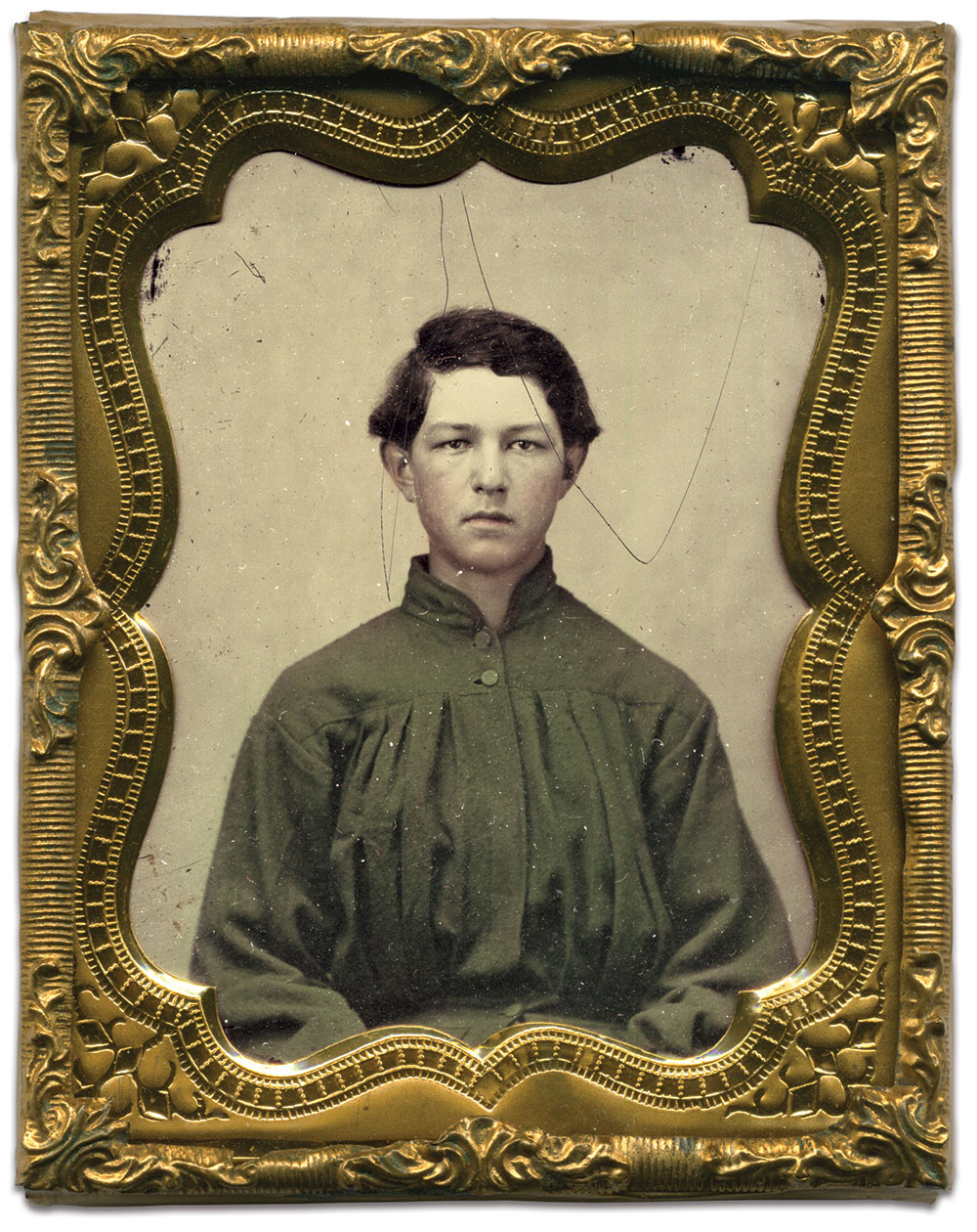 Ninth-plate ambrotype by an anonymous photographer. Dave Batalo Collection.
