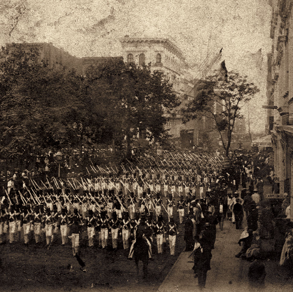 Anthony's Instantaneous Views, No. 431. Fourth of July In and About New York. A Company of Infantry Marching through Chambers Street, July 4th, 1860. Author's collection.