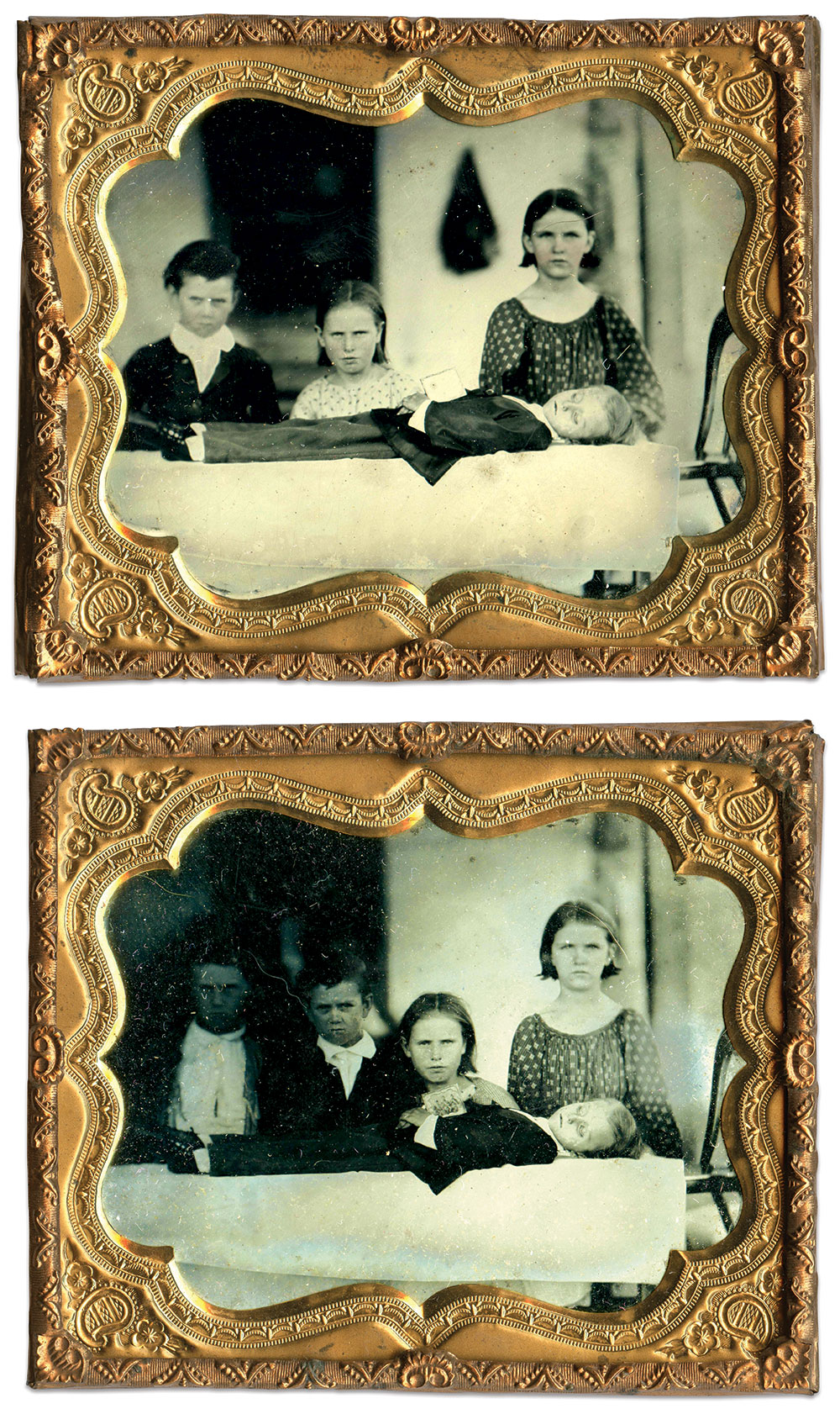 Sixth-plate tintypes by an anonymous photographer.