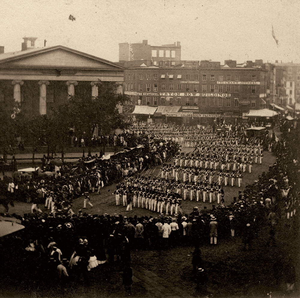 Anthony's Instantaneous Views, No. 1531. Fourth of July In and About New York. Troops entering the Park from Tryon Row, July 4th, 1860. Courtesy Jeffrey Kraus of Antique Photographics.