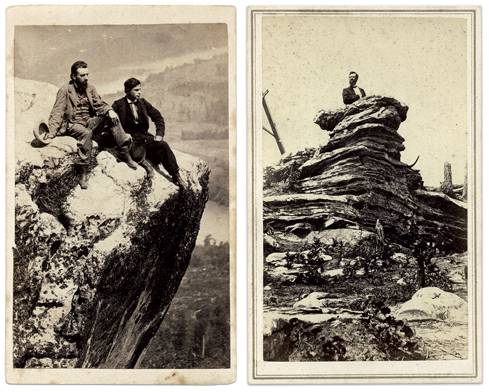 Master of his domain (left): This portrait, believed to be Linn and his younger brother or an assistant, may have been taken by Cincinnati photographer Isaac H. Bonsall. Where Jefferson Davis Stood (right): Linn at Pulpit Rock, where President Jefferson Davis addressed Confederate troops during an October 1863 visit.