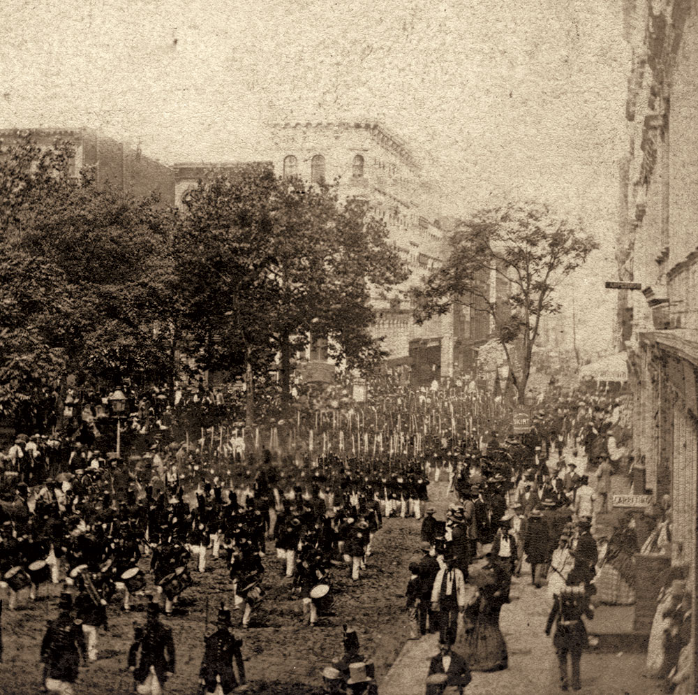 Anthony's Instantaneous Views, No. 430. Fourth of July In and About New York. A Company of Infantry Marching through Chambers Street, July 4th, 1860. Author's collection.