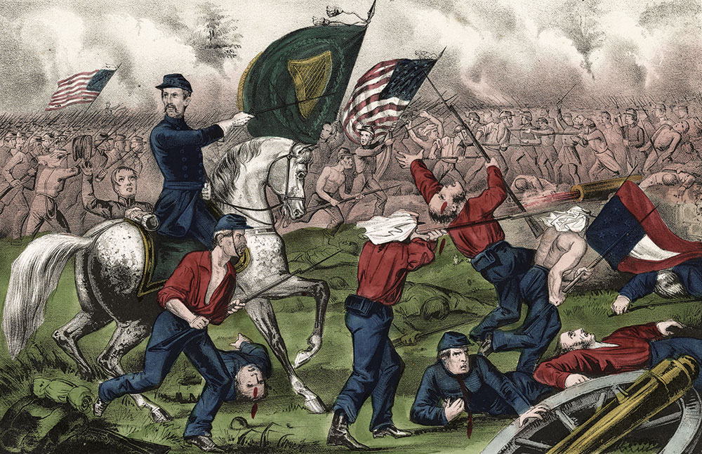 Detail of a Currier & Ives illustration shows Corcoran in the First Battle of Bull Run. Library of Congress.