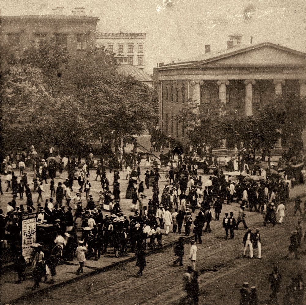 Anthony's Instantaneous Views, No. 434. Fourth of July In and About New York. The Crowd dispersing from the Park after the Review, July 4th, 1860. Author's collection.