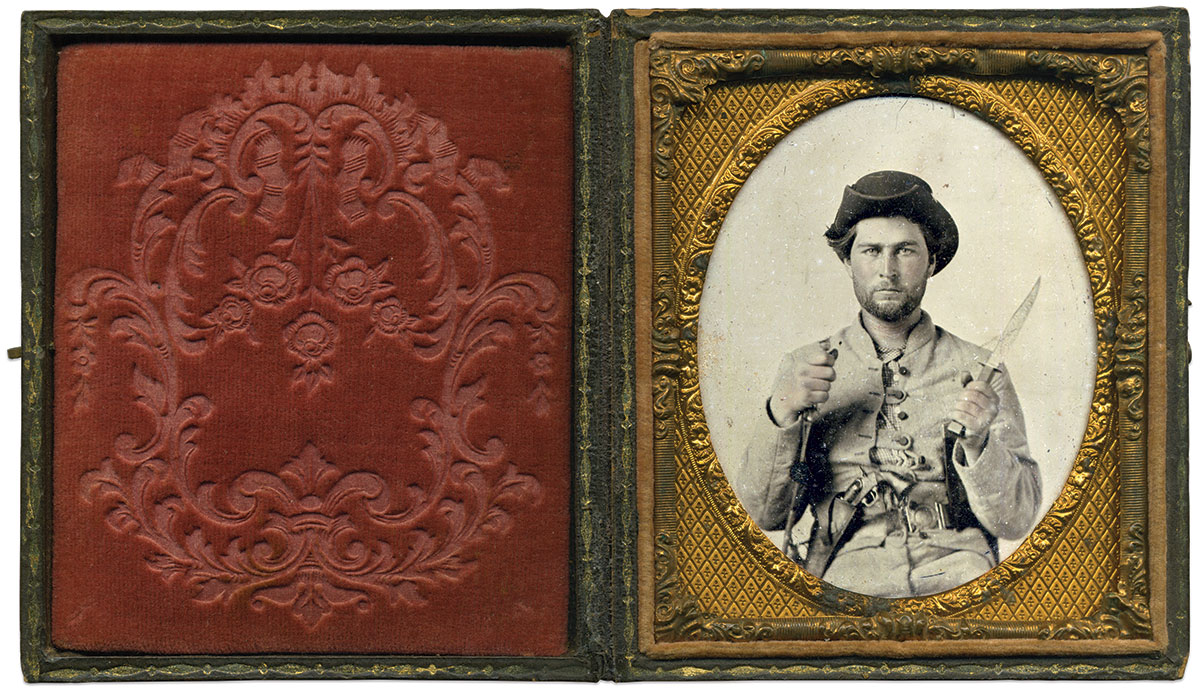 James Lawrence House died in an 1862 action with John Hunt Morgan's raiders. Sixth-plate ambrotype by an anonymous photographer.