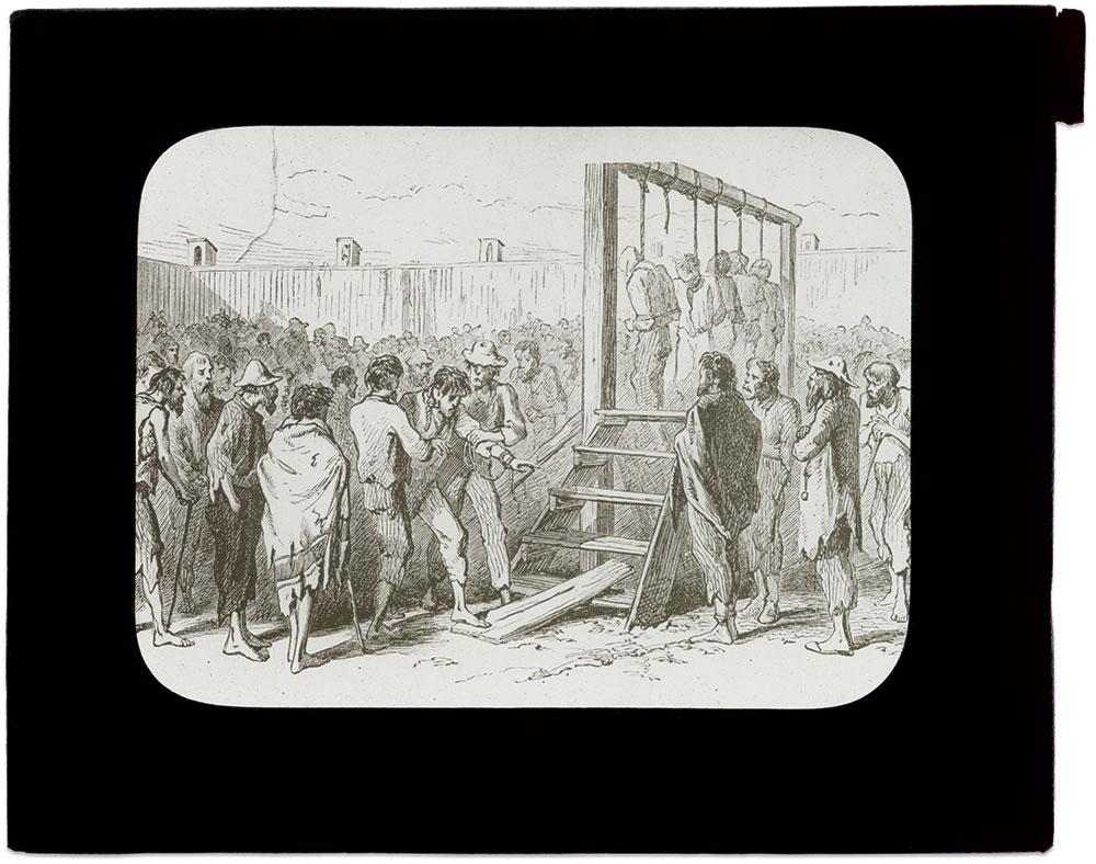 VIVID ILLUSTRATIONS DOCUMENT A PRISONER'S LIFE: In 1896, Ezra Hoyt Ripple of the 52nd Pennsylvania Infantry wrote about his captivity in Georgia's Andersonville Prison and at Florence, S.C. He commissioned James E. Taylor, a prominent artist for Frank Leslie's Illustrated Newspaper, to illustrate his words. Ripple used these images, including the artwork below, in Magic Lantern lectures. He also printed a handful of his memoirs and distributed them to his children with strict instructions not to publish them during his lifetime. He died in 1909. His memoirs, Dancing Along the Deadline, were published in 1996.