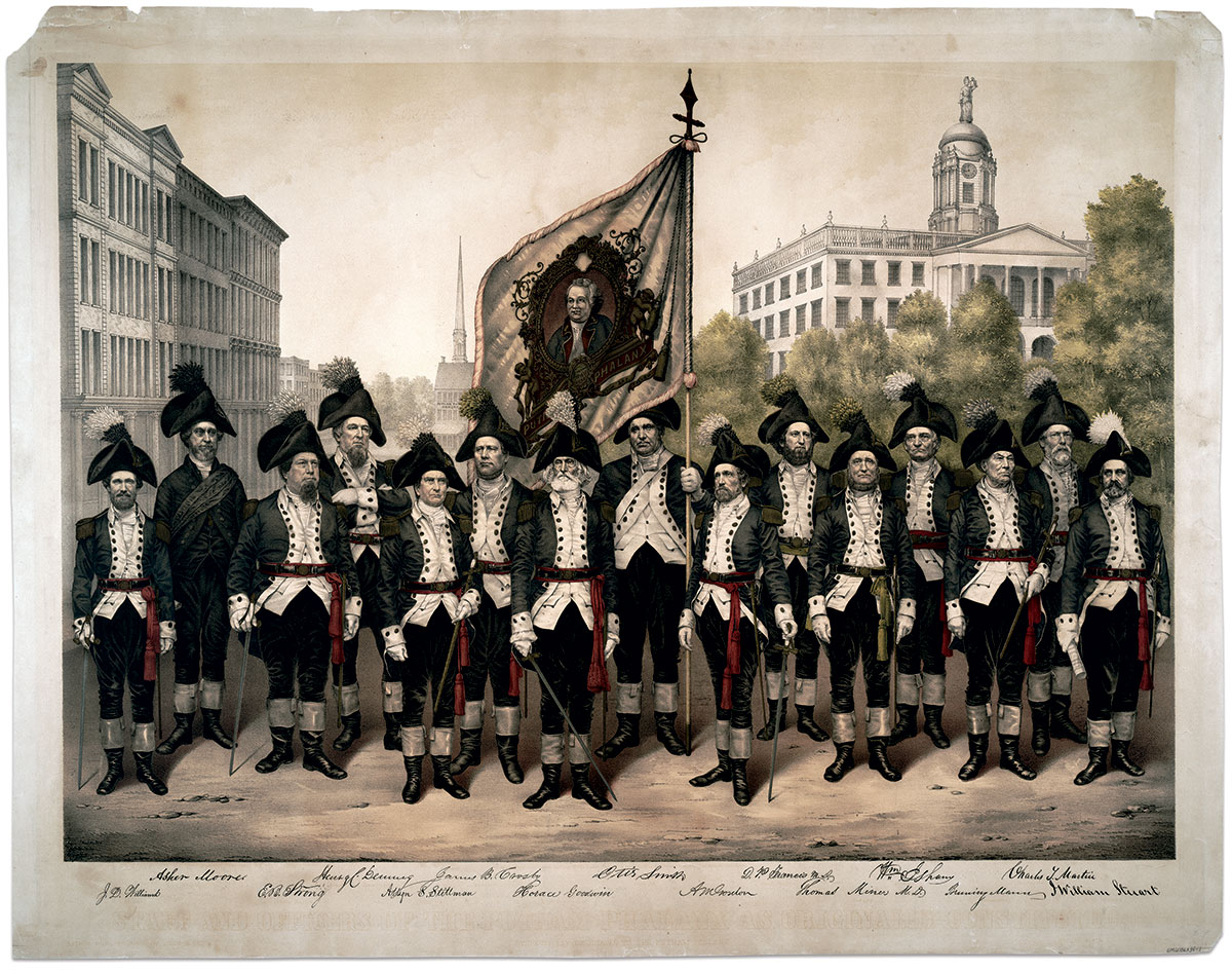 In this souvenir lithograph of the officers of Putnam Phalanx, Maj. Horace Goodwin, a well-known merchant and the unit's commander, stands center. Color bearer Otis Smith supports the flag bearing an elaborately framed portrait of namesake Maj. Gen. Israel Putnam. The man dressed in black standing second from left, Asher Moore, served as chaplain. Surgeon Thomas Miner, M.D., is distinguished by a green sash.Carte de visite by an anonymous photographer. Anne S.K. Brown Military Collection.