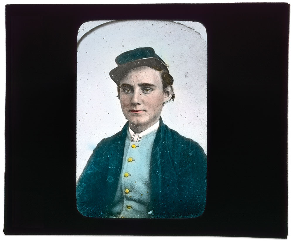 This soldier and other war veterans numbered among the 60,000 or so traveling Magic Lantern lecturers in the late 19th century.