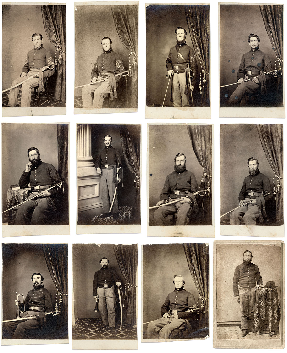 Portraits in the Stetz Album, in order of appearance. First row: Sgt. Maj. Noble D. Preston, Sgt. Maj. Frederick L. Webb, QM Sgt. John B. King, QM Sgt. Henry E. Hayes; Second row: Commissary Sgt. Marshall R. Woodruff, Commissary Sgt. Oscar P. Whedon, Saddler Sgt. Thomas Barry, Saddler Sgt. Joseph T. Griffin; Third row: Chief Bugler Addison Cole, Chief Bugler George Strack, Hospital Steward Walter Kempster, Unidentified private.