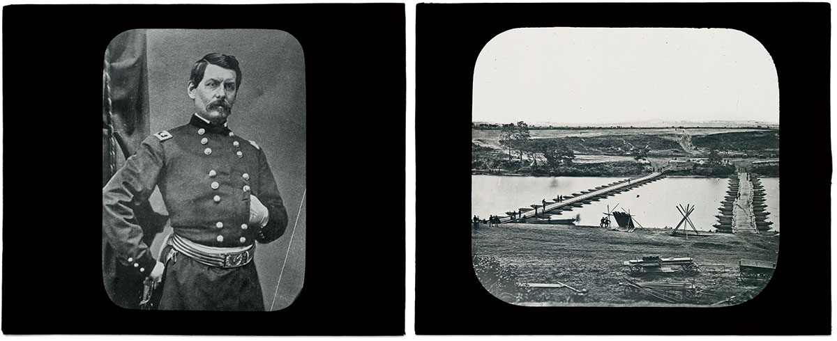 RETURN TO THE FRONT LINES OF THE GREAT WAR: Magic Lantern events brought the charismatic but slow moving Maj. Gen. George B. McClellan, left, back into the spotlight. And this slide depicting pontoon bridges over the Rappahannock River used in the Battle of Fredericksburg is as clear as the circa June 1863 negative by Timothy O'Sullivan.
