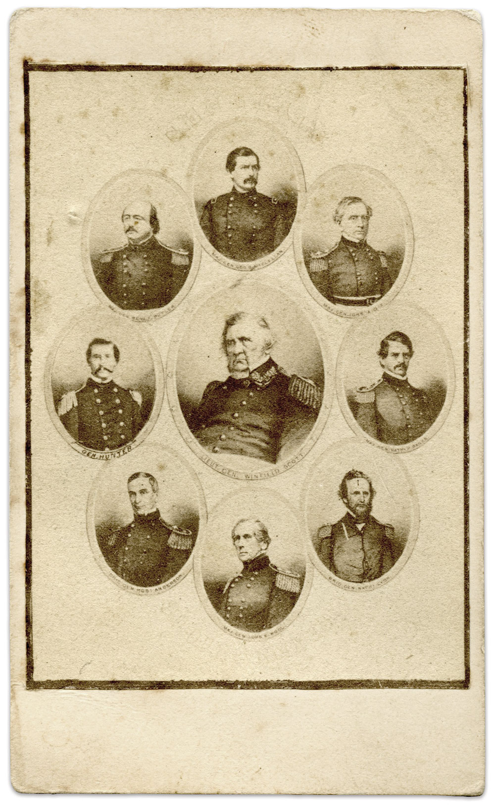 EARLY MONTAGE: Lt. Gen. Winfield Scott is pictured with prominent generals prior to his retirement in October 1861. Uncredited, the quality of the print suggests this is a pirated version of an original perhaps published by photographer Charles D. Fredricks in New York City.