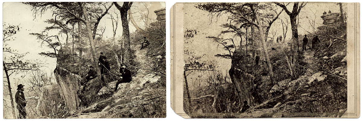 """Maj. Gen. Ulysses S. Grant: Perhaps the most published Linn view of Lookout Mountain, left, pictures Maj. Gen. Grant, lower left, shortly after the fighting. With him are, from left, Brig. Gen. John A. Rawlins, Brig. Gen. Joseph D. Webster, Col. Clark B. Lagow and Col. William S. Hillyer. Another view, right, appears to have been taken during Grant's 1863 post-battle visit. Here, the officers are congregated at the Point and another man appears to be pointing out something on the ground, perhaps a """"relic"""" of the battle."""