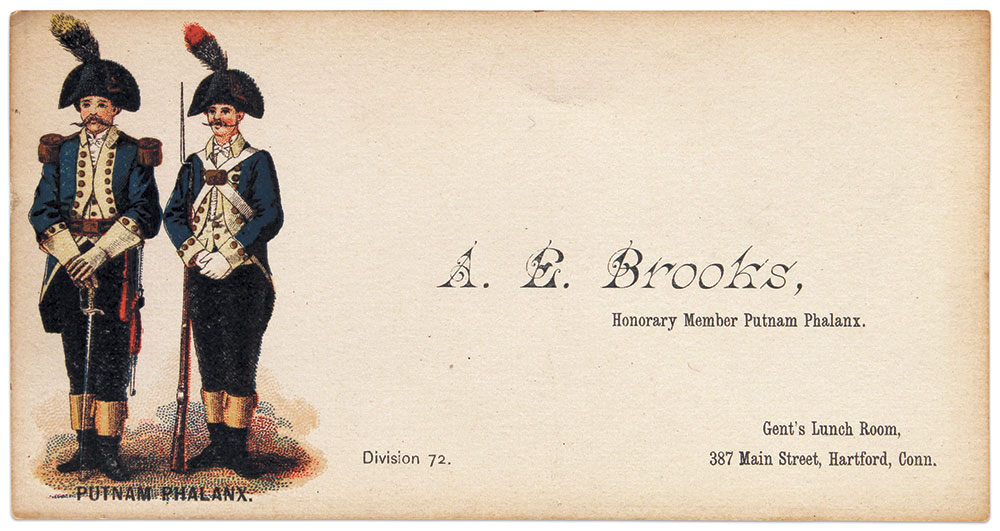 Capt. Abel E. Brooks' calling card. Known for his collection of antique guns, he lived until age 83, dying in 1917. Three members of the Phalanx served as pallbearers at his funeral.