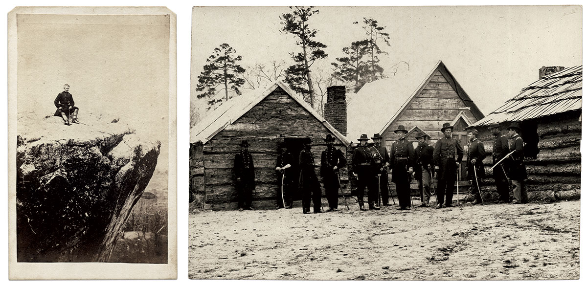 Maj. Gen. Joseph Hooker: Linn captured the general in charge of the victorious troops who stormed Lookout Mountain at the Point, right, and later, far right, with his staff  at winter quarters in Lookout Valley at the base of Raccoon Mountain.