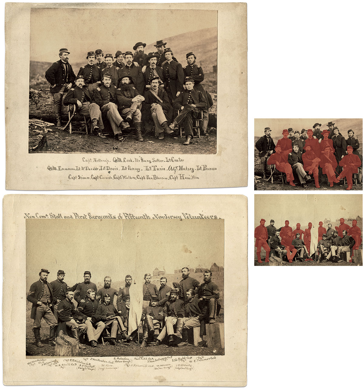 About half of the men—15 of 31—became casualties after these photographs were taken, most a few months later at Spotsylvania. Albumen prints by Weitfle and Wright, 1st Division, 6th Corps photographers.