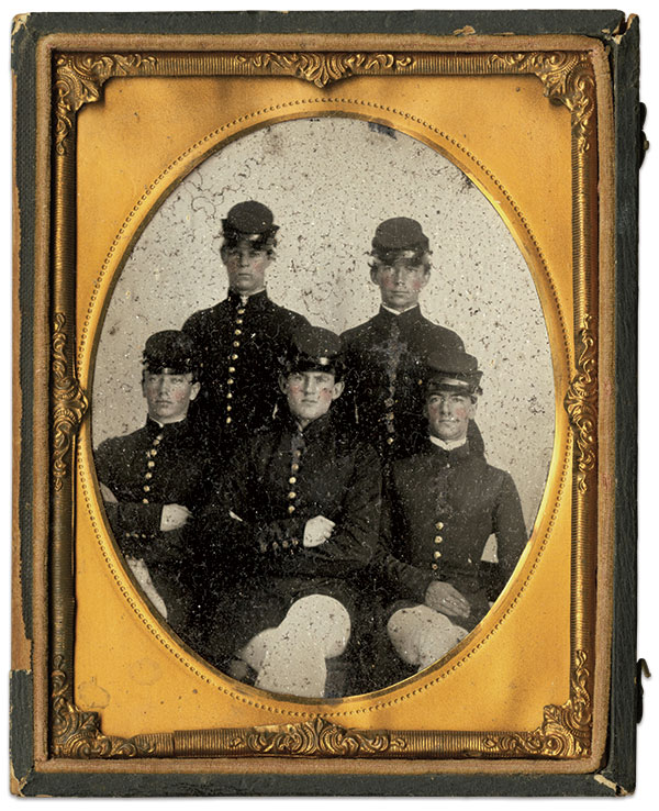 Burgwyn is surrounded by four of his fellow Virginia Military Institute cadets in this portrait taken in September 1860. The others are William H. Bray, Emmett M. Morrison, William A. Smith and Richard L. Williams. Quarter-plate ambrotype courtesy VMI Archives.