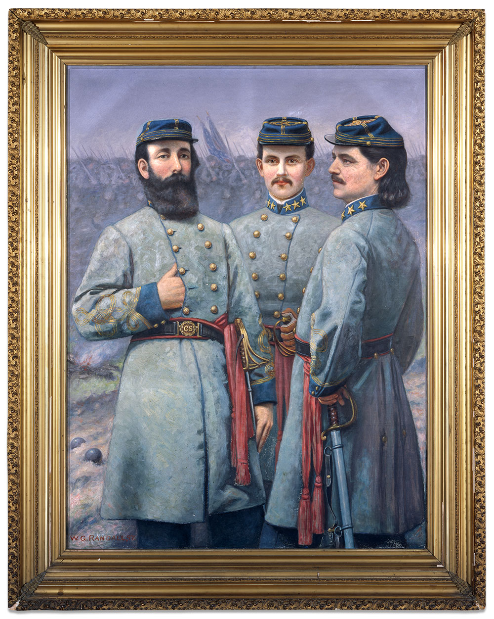 Burgwyn sports a mustache as colonel of the 26th North Carolina Infantry. He is flanked by fellow colonels John Randolph Lane, left, and Zebulon Vance. Painting by William George Randall, 1904, courtesy of the North Carolina Museum of History.