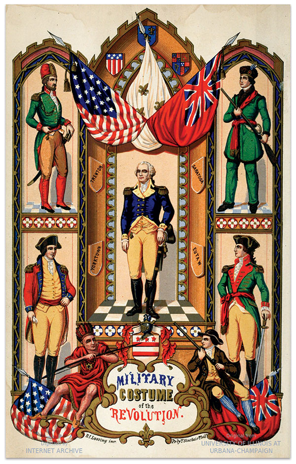 Lossing's Pictorial Field-Book of the Revolution contained numerous descriptions and engravings of Revolutionary War uniforms, flags and militaria which likely provided a stimulus for the wearing of Continental-style uniforms in the 1850s. Project Gutenberg.