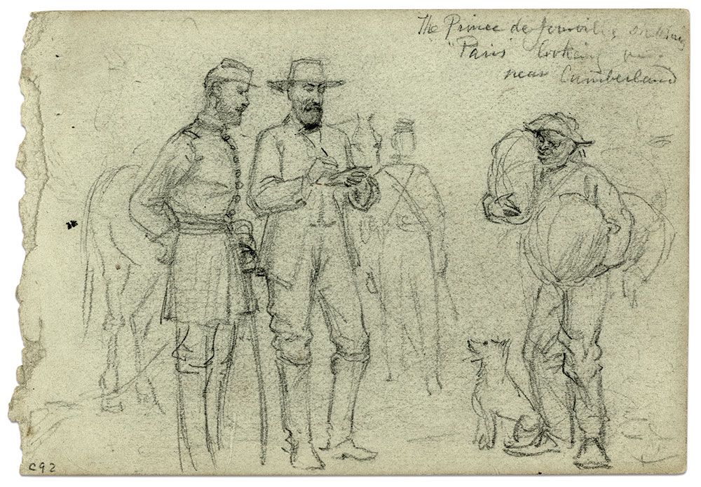 """Artist Alfred R. Waud depicted the Prince de Joinville sketching """"Paris"""" near Cumberland Landing, Va., during the Peninsula Campaign. Library of Congress."""