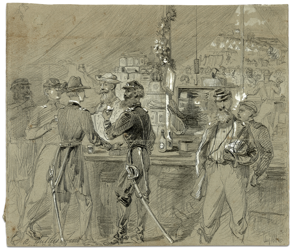 """In this 1862 illustration titled """"A sutler's tent near H.Q.,"""" artist Arthur Lumley depicts soldiers drinking at a bar. Library of Congress."""