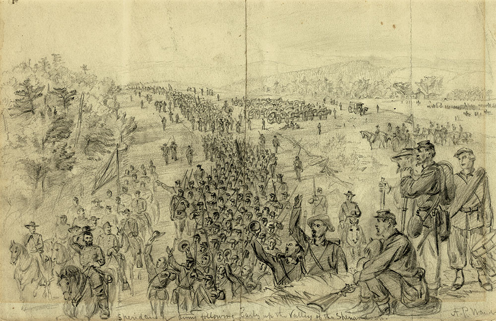 """Artist Alfred R. Waud sketched """"Sheridan's army following Early up the Valley of the Shenandoah"""" between August 1864 and March 1865. Library of Congress."""