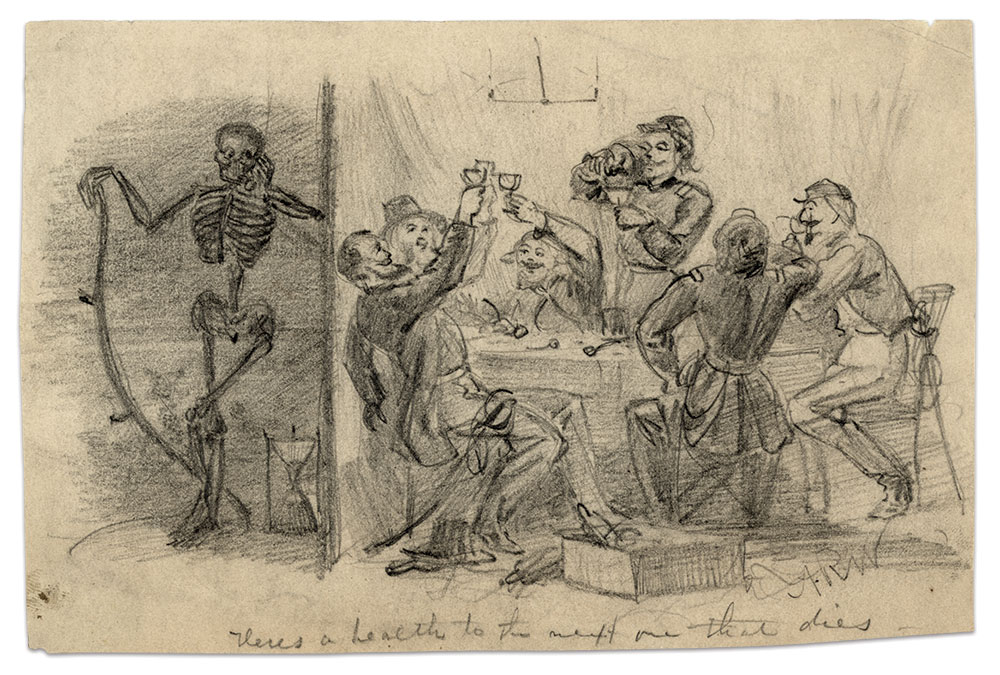 """In artist Alfred R. Waud's """"Heres a health to the next one that dies,"""" a group of hard-drinking soldiers live life to the fullest. Meanwhile outside the tent, Death patiently waits for his next victim while the sands of time run through an hourglass. Library of Congress."""