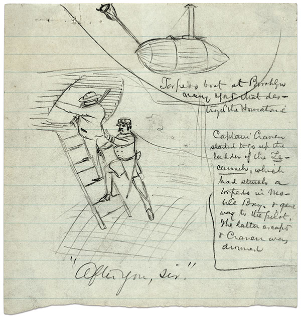 Illustrator Alfred R. Waud's sketch of Craven's final act. Library of Congress.