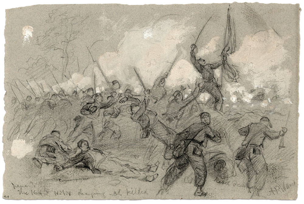 Noted war artist Alfred R. Waud sketched this scene of the death of Col. James P. McMahon of the 164th New York Infantry during the Battle of Cold Harbor on June 3, 1864. Waud accurately depicted the men in Zouave uniforms, as evidenced by the wounded soldier lying spread eagle in the left foreground. Library of Congress.
