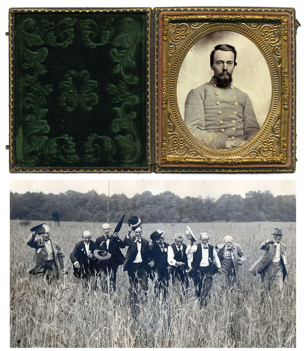 Top: Sixth-plate ambrotype by an anonymous photographer. Rusty Hicks Collection; Bottom: According to his daughter, Hawthorne is pictured fourth from the left in this iconic Gettysburg reunion photo. Courtesy of Pennsylvania Historical and Museum Commission, Pennsylvania State Archives.