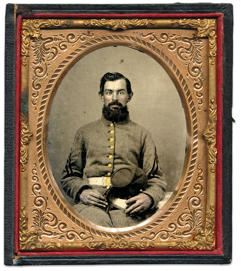 A real portrait of a South Carolina infantryman. Sixth-plate ambrotype by an anonymous photographer. Dan Schwab Collection.