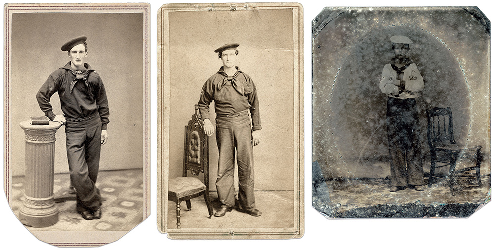 FROM LEFT TO RIGHT: This sailor wears a crudely sewn five-pointed star on his right sleeve denoting that he belonged to the starboard watch aboard his vessel. Carte de visite by an anonymous photographer. Courtesy Lynda Setty of the Rinker Collection; The right sleeve of this sailor of the starboard bears a star mark, above which is small vertical white strip with unknown significance. Carte de visite by R.A. Lord of New York City. Author's collection; Wearing a white frock, this boy sailor has a watch mark consisting of a dark blue star on a round white cloth patch edged with dark blue.Sixth-plate tintype by an anonymous photographer. Author's collection.