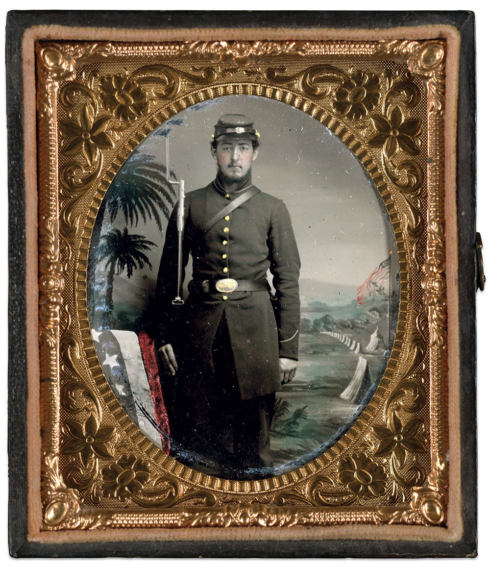 """An inscription behind this portrait of an unnamed Union infantryman notes, """"Taken at Beaufort, South Carolina, April 2, 1862, W.C.A.""""           Sixth-plate tintype by an anonymous photographer. The Liljenquist Family Collection at the Library of Congress."""