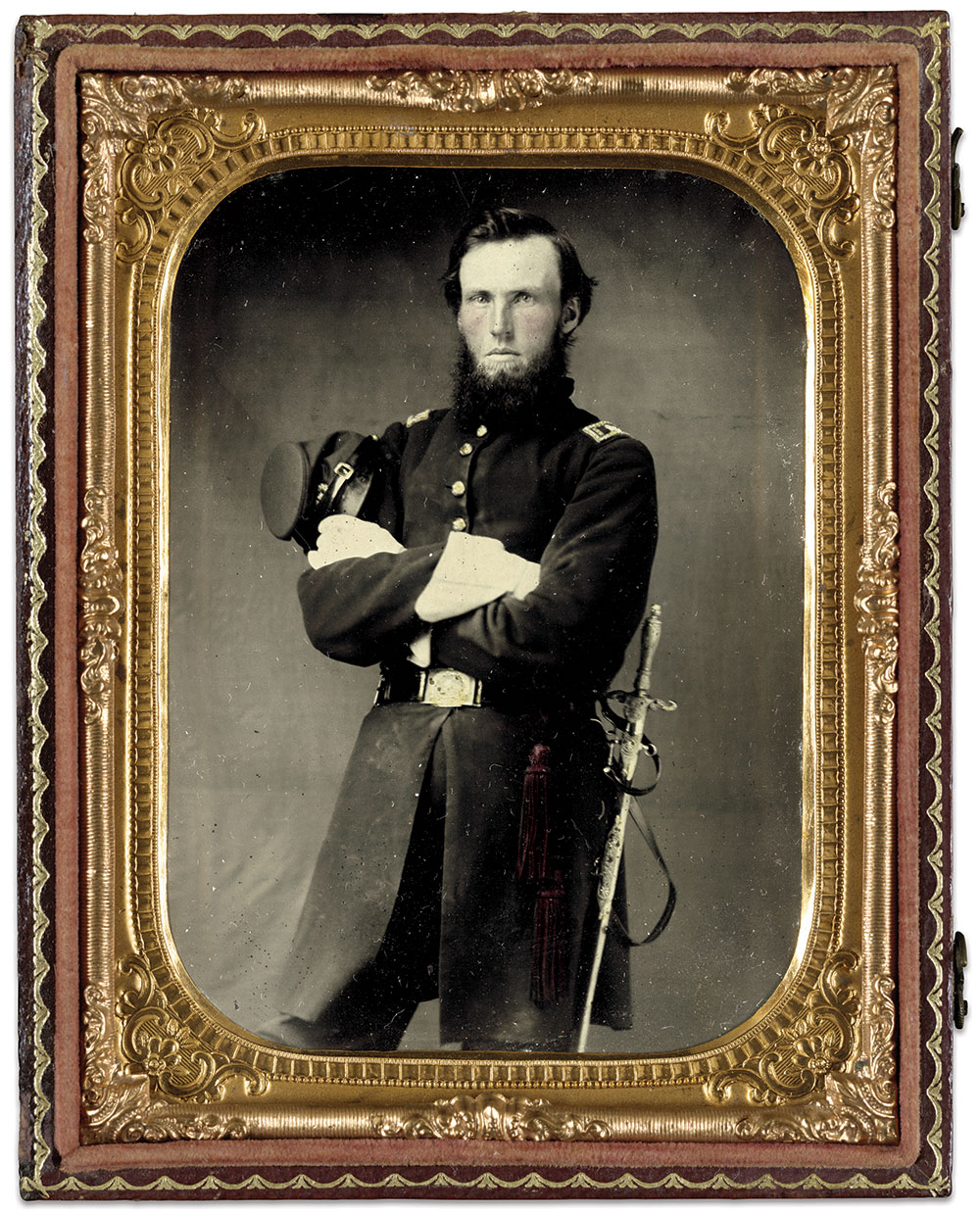IDENTIFIED USING CWPS: Surg. Francis Marion Eveleth (1832-1895) of the 7th Maine Infantry and the 1st Maine Veteran Volunteers. Quarter-plate tintype by an anonymous photographer. The Liljenquist Family Collection at the Library of Congress.